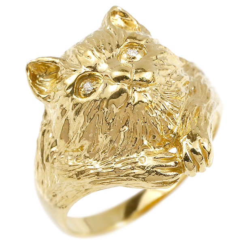 リング ダイヤモンド 猫 イエローゴールドk10 エンゲージリング 幅広 指輪 ピンキーリング 婚約指輪 10金 宝石 ねこ ネコ レディース 妻 嫁 奥さん 女性 彼女 娘 母 祖母 パートナー