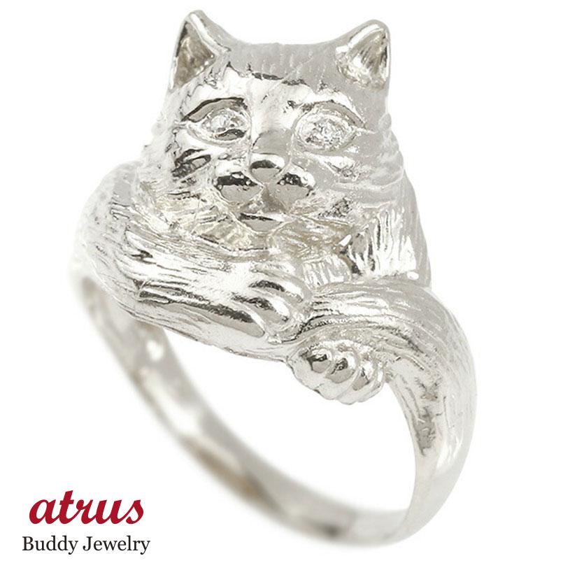 リング ダイヤモンド 猫 ホワイトゴールドk18 エンゲージリング 幅広 指輪 ピンキーリング 婚約指輪 18金 宝石 ねこ ネコ レディース 妻 嫁 奥さん 女性 彼女 娘 母 祖母 パートナー