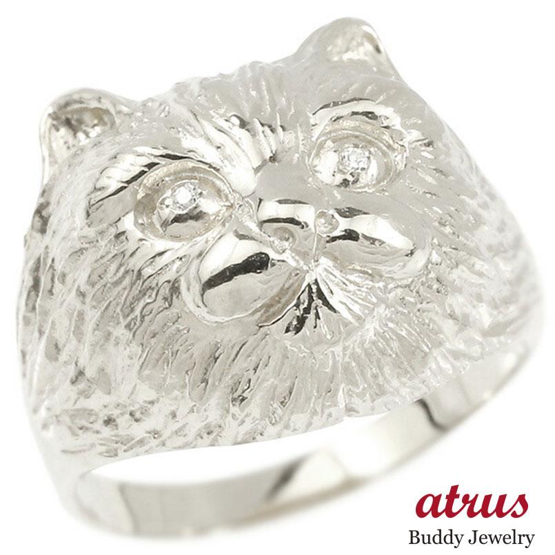 リング ダイヤモンド 猫 ホワイトゴールドk10 エンゲージリング 幅広 指輪 ピンキーリング 婚約指輪 10金 宝石 ねこ ネコ レディース 妻 嫁 奥さん 女性 彼女 娘 母 祖母 パートナー