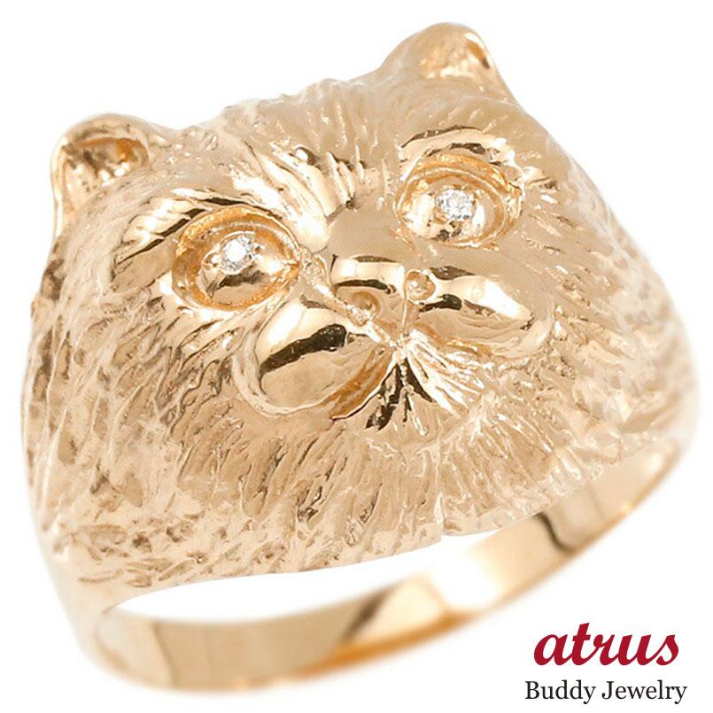 リング ダイヤモンド 猫 ピンクゴールドk10 エンゲージリング 幅広 指輪 ピンキーリング 婚約指輪 10金 宝石 ねこ ネコ レディース 妻 嫁 奥さん 女性 彼女 娘 母 祖母 パートナー