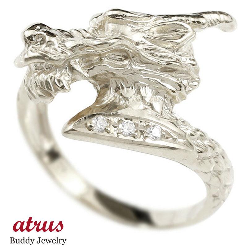リング ダイヤモンド 龍 ホワイトゴールドk10 エンゲージリング 幅広 指輪 ピンキーリング 婚約指輪 10金 宝石 ドラゴン 竜 レディース 妻 嫁 奥さん 女性 彼女 娘 母 祖母 パートナー