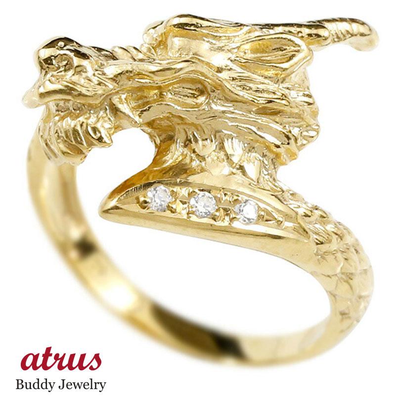 リング ダイヤモンド 龍 イエローゴールドk10 エンゲージリング 幅広 指輪 ピンキーリング 婚約指輪 10金 宝石 ドラゴン 竜 レディース 妻 嫁 奥さん 女性 彼女 娘 母 祖母 パートナー