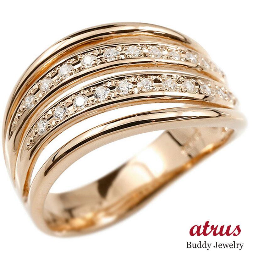 婚約指輪 リング ピンクゴールドk10 ダイヤモンド エンゲージリング ダイヤ 指輪 幅広 ピンキーリング 10金 宝石 レディース 送料無料