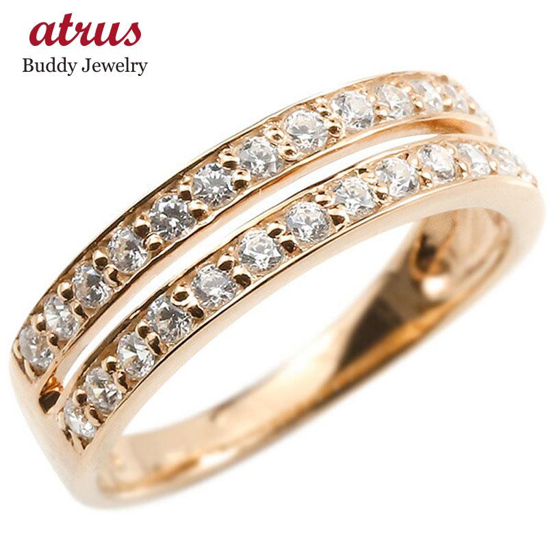 婚約指輪 リング ピンクゴールドk18 キュービックジルコニア エンゲージリング 2連 指輪 ピンキーリング 18金 レディース 妻 嫁 奥さん 女性 彼女 娘 母 祖母 パートナー
