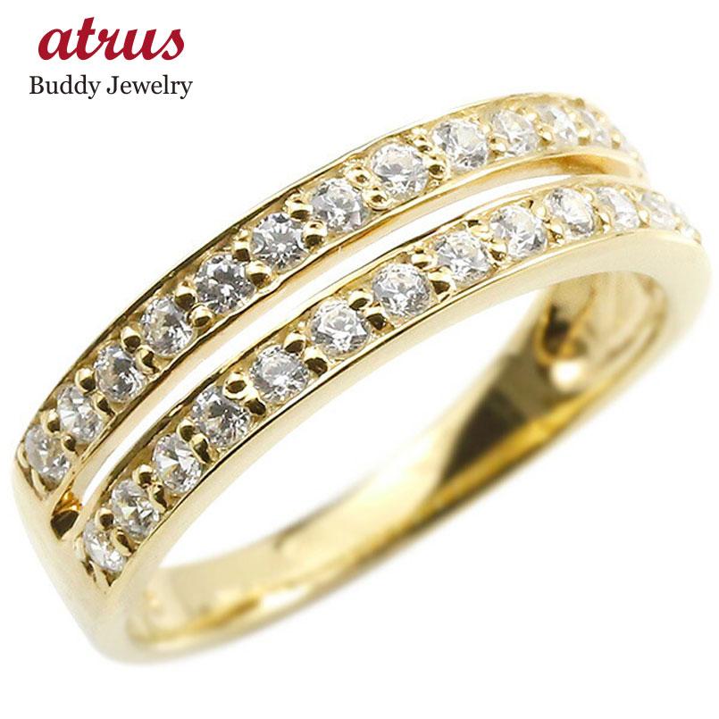 婚約指輪 リング イエローゴールドk18 ダイヤモンド エンゲージリング 2連 指輪 ピンキーリング 18金 宝石 レディース 妻 嫁 奥さん 女性 彼女 娘 母 祖母 パートナー