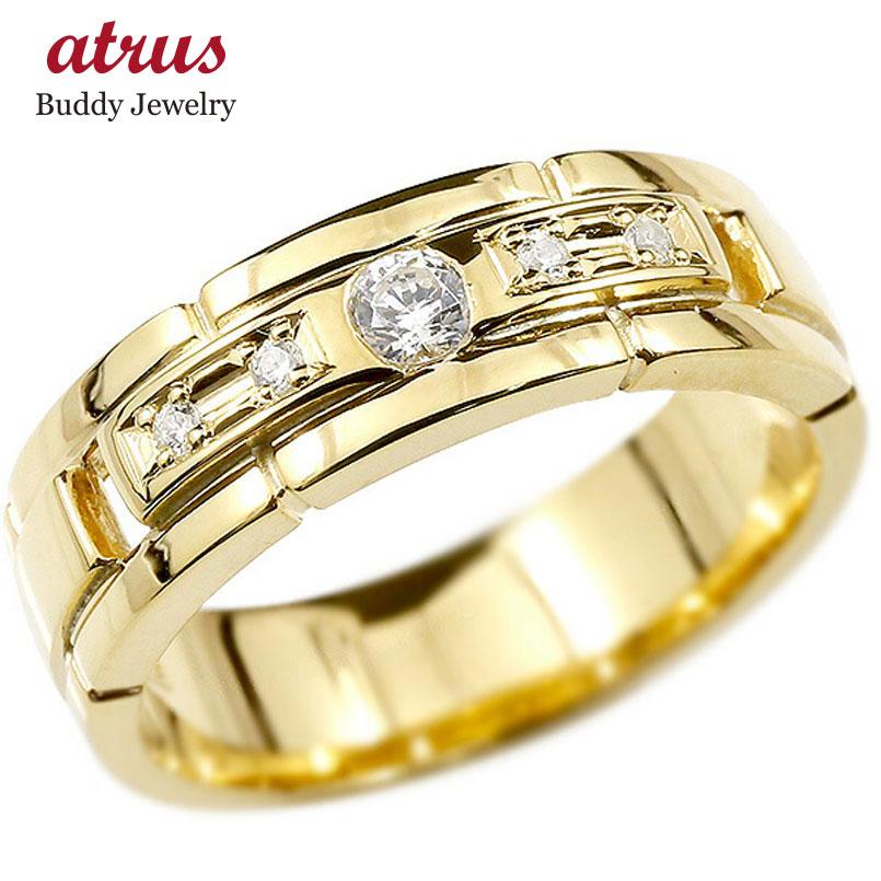 婚約指輪 リング イエローゴールドk18 キュービックジルコニア エンゲージリング 指輪 幅広 ピンキーリング 18金 宝石 レディース ストレート 妻 嫁 奥さん 女性 彼女 娘 母 祖母 パートナー