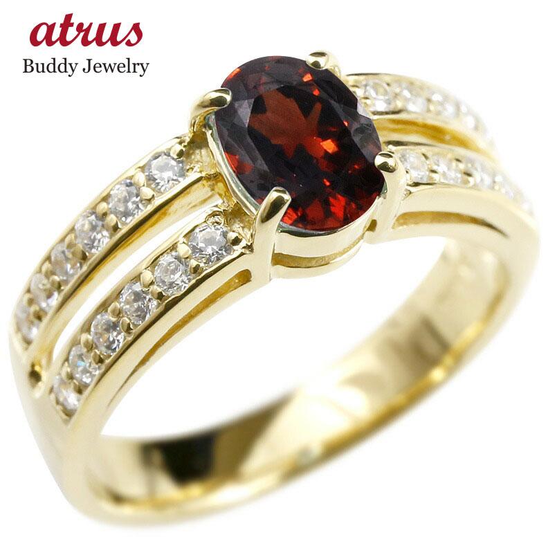 リング キュービックジルコニア ガーネット イエローゴールドk18 婚約指輪 ピンキーリング 指輪 幅広 エンゲージリング 18金 レディース 送料無料