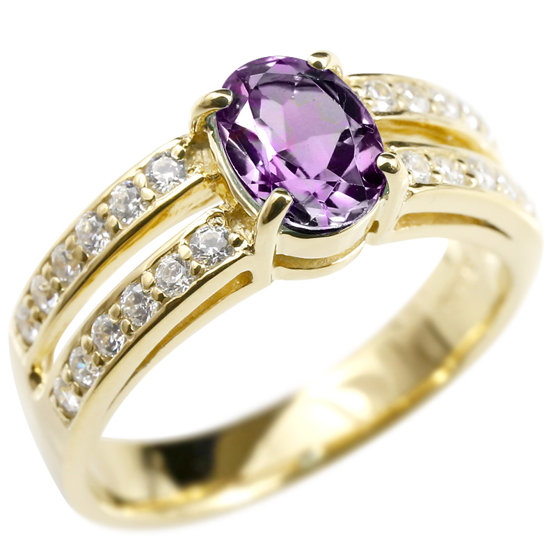 リング キュービックジルコニア アメジスト イエローゴールドk10 婚約指輪 ピンキーリング 指輪 幅広 エンゲージリング 10金 レディース 送料無料