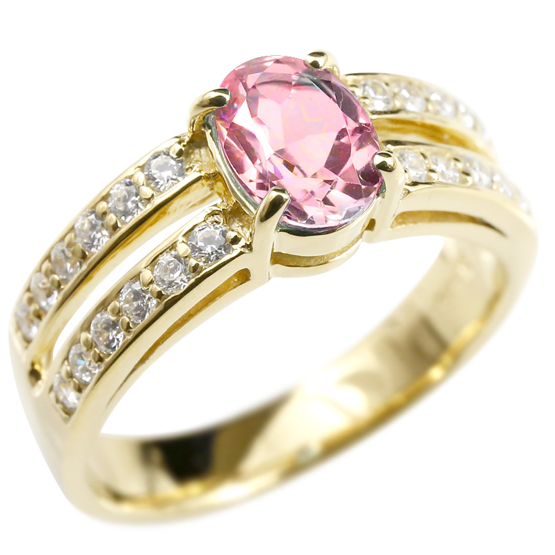 リング ダイヤモンド ピンクトルマリン イエローゴールドk18 婚約指輪 ピンキーリング ダイヤ 指輪 幅広 エンゲージリング 18金 レディース 送料無料