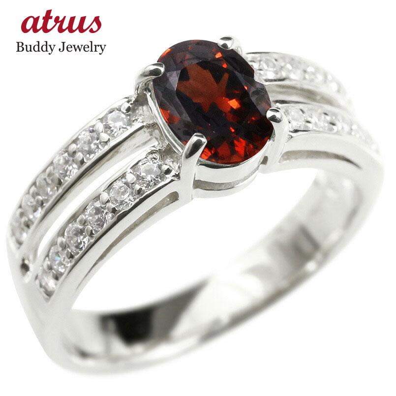 リング キュービックジルコニア ガーネット シルバー925 婚約指輪 ピンキーリング 指輪 幅広 エンゲージリング sv925 レディース 送料無料