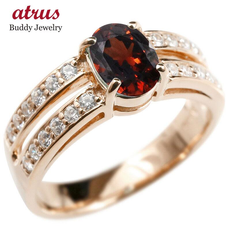 リング キュービックジルコニア ガーネット ピンクゴールドk18 婚約指輪 ピンキーリング 指輪 幅広 エンゲージリング 18金 レディース 送料無料