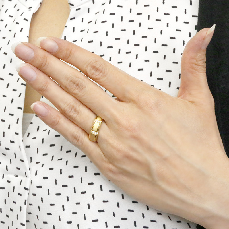 婚約指輪 リング イエローゴールドk18 ダイヤモンド エンゲージリング ダイヤ 指輪 幅広 サテン仕上げ ピンキーリング 18金 宝石 レディース 送料無料BoCxrdeW
