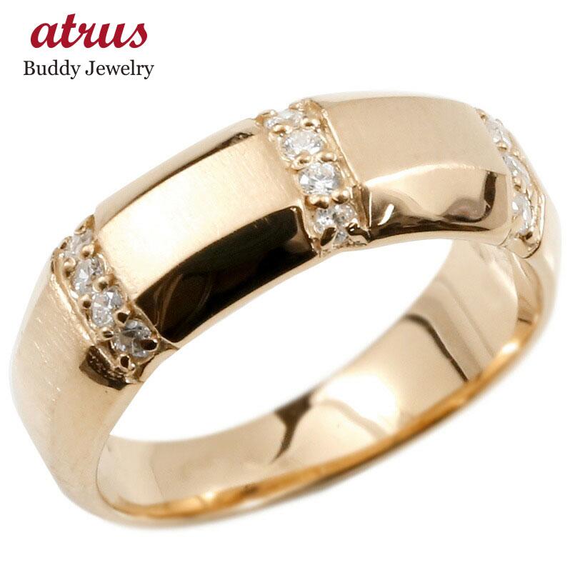 婚約指輪 リング ピンクゴールドk18 ダイヤモンド エンゲージリング ダイヤ 指輪 幅広 サテン仕上げ ピンキーリング 18金 宝石 レディース 送料無料