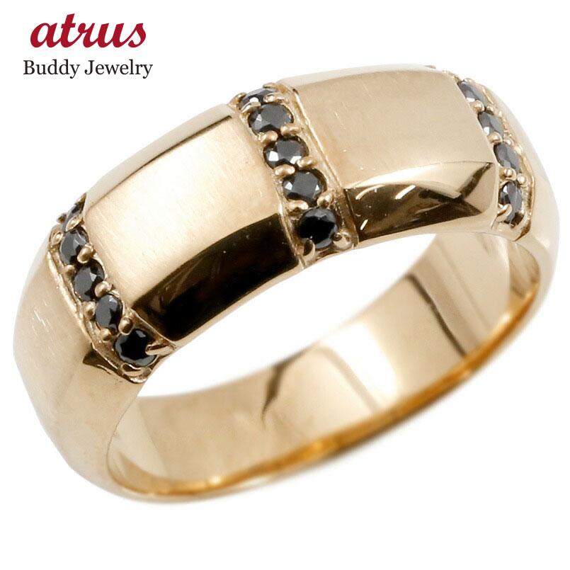 ボリューム感存在感ともに抜群 キュービックリング メンズ リング ピンクゴールドk10 ブラックキュービックジルコニア 指輪 10金 サテン仕上げ 幅広 ピンキーリング リング シンプル 男性用 送料無料