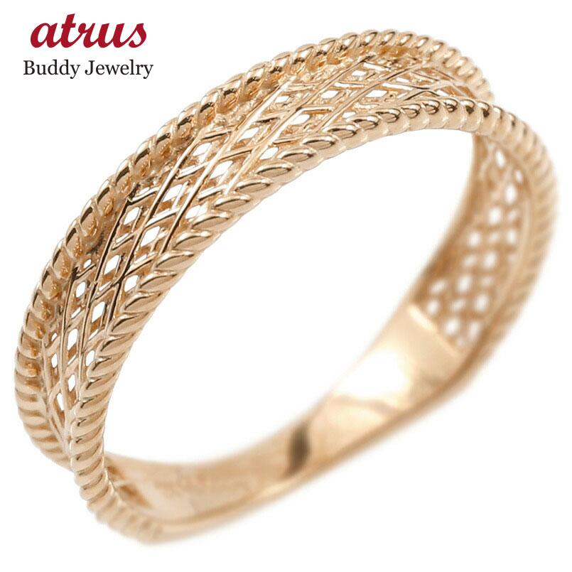 ゴールド リング レディース 指輪 10k ピンクゴールドk10 透かし 婚約指輪 安い シンプル ピンキーリング 地金 女性 送料無料