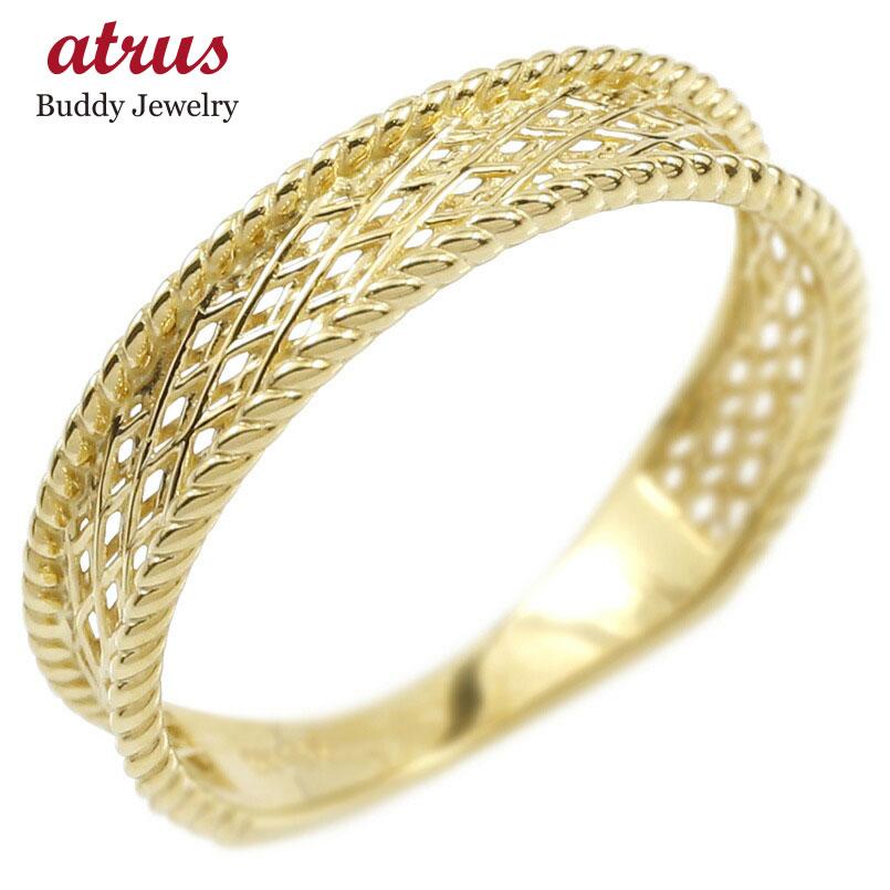 ゴールド リング レディース 指輪 10k イエローゴールドk10 透かし 婚約指輪 安い シンプル ピンキーリング 地金 女性 送料無料
