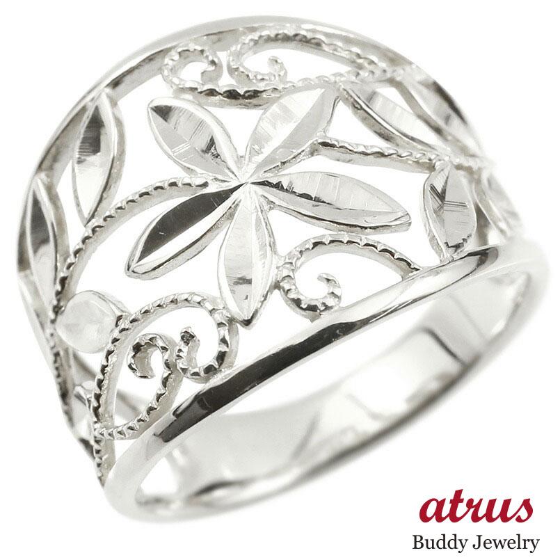 婚約指輪 リング ホワイトゴールドk18 エンゲージリング 地金 幅広 透かし ミル打ち 花 ボタニカル 指輪 ピンキーリング 18金 レディース