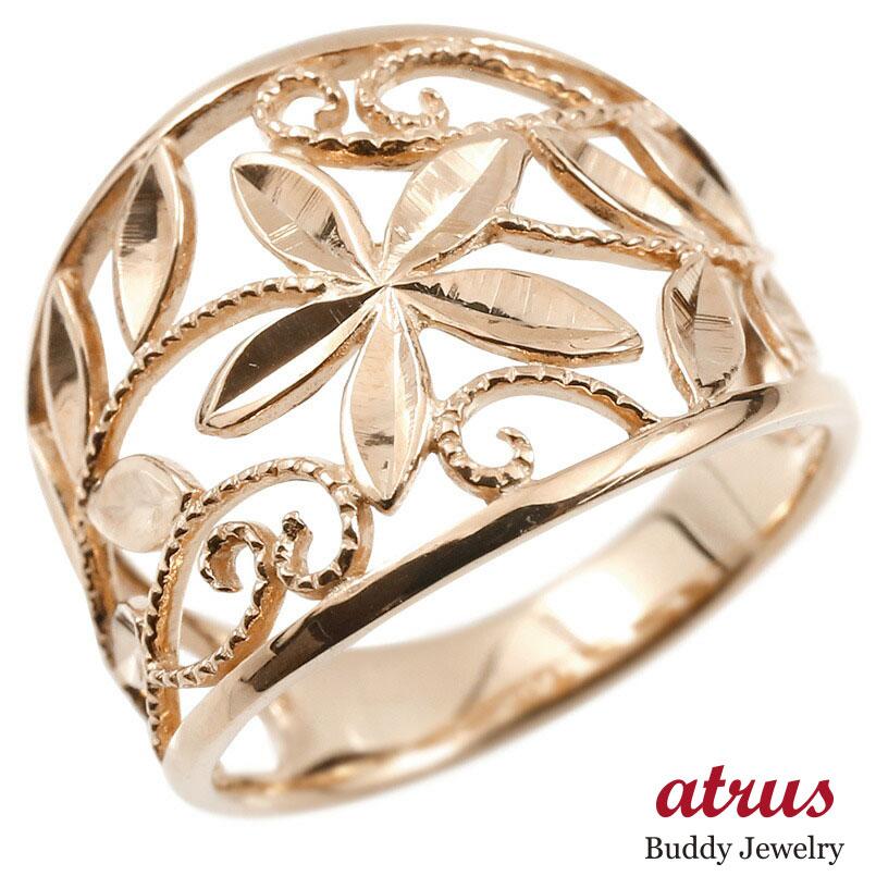 婚約指輪 リング ピンクゴールドk18 エンゲージリング 地金 幅広 透かし ミル打ち 花 ボタニカル 指輪 ピンキーリング 18金 レディース
