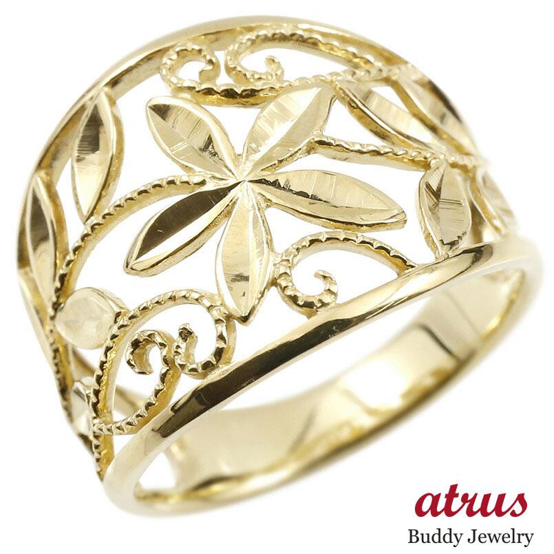 婚約指輪 リング イエローゴールドk18 エンゲージリング 地金 幅広 透かし ミル打ち 花 ボタニカル 指輪 ピンキーリング 18金 レディース