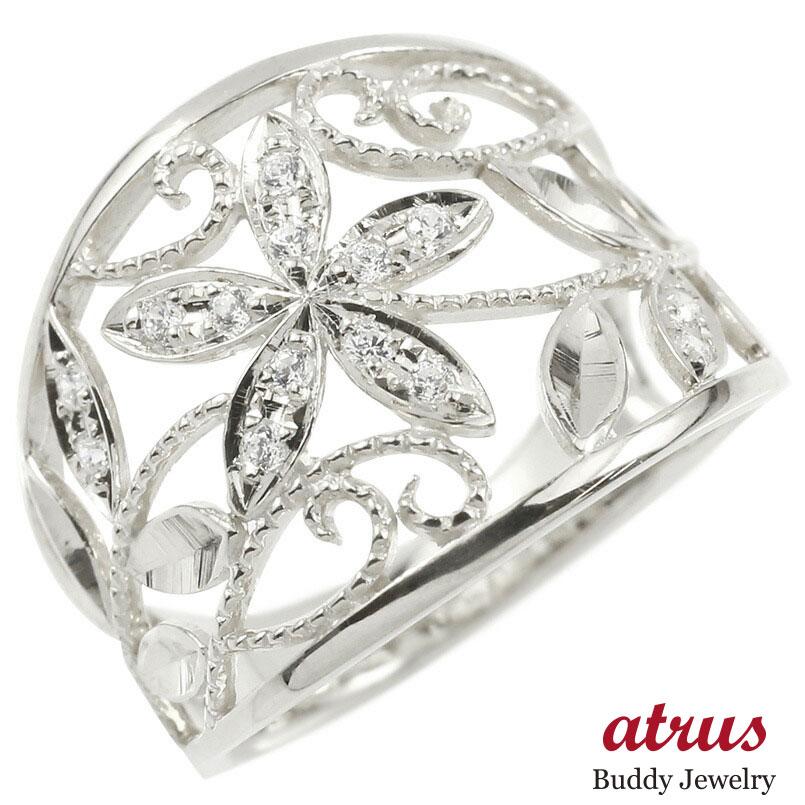 婚約指輪 リング ホワイトゴールドk18 キュービックジルコニア エンゲージリング 幅広 透かし ミル打ち 花 ボタニカル 指輪 ピンキーリング 18金 レディース