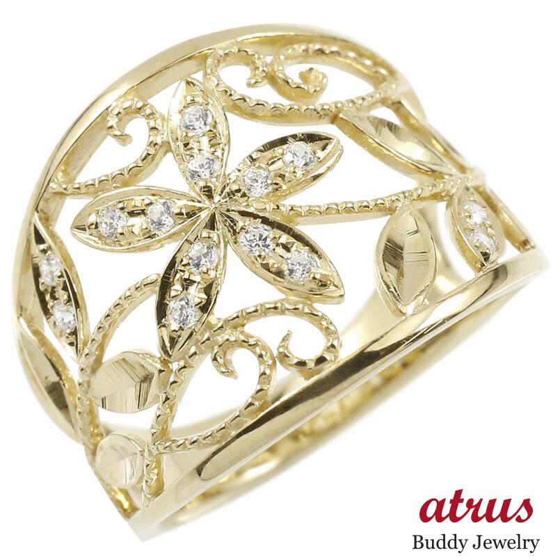 婚約指輪 リング イエローゴールドk18 キュービックジルコニア エンゲージリング 幅広 透かし ミル打ち 花 ボタニカル 指輪 ピンキーリング 18金 レディース