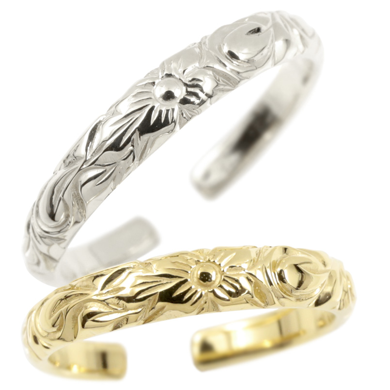ハワイアンジュエリー ペアリング 結婚指輪 ホワイトゴールドk10 イエローゴールドk10 フリーサイズ ハワイアンリング 地金 10金 カップル 2本セット 送料無料