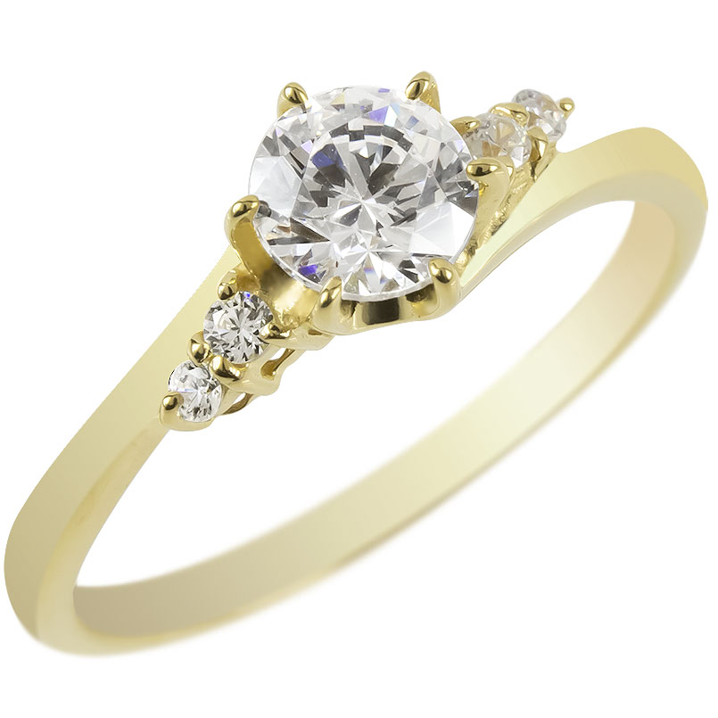 婚約指輪 安い 18金 リング ダイヤモンド 一粒 レディース ゴールド 鑑定書付き 0.57ct VVS 指輪 18k イエローゴールドk18 エンゲージリング 大粒 送料無料