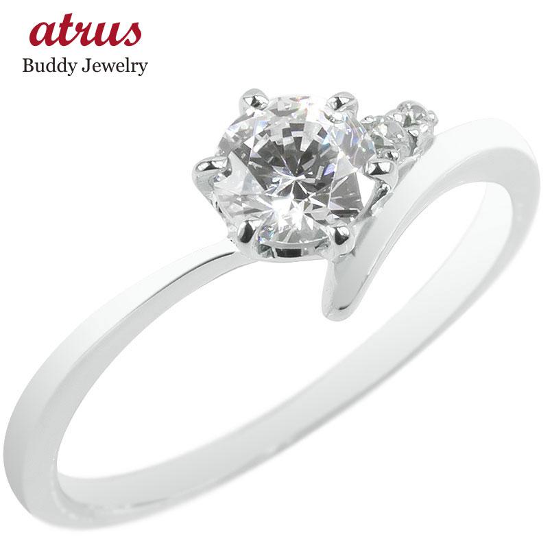 婚約指輪 安い 18金 リング ダイヤモンド 一粒 レディース ゴールド 鑑定書付き 0.57ct VVS 指輪 18k ホワイトゴールドk18 エンゲージリング 大粒 送料無料