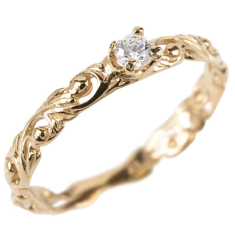 ゴールド リング キュービックジルコニア 一粒 レディース ハワイアンジュエリー 指輪 ピンクゴールドk10 透かし 婚約指輪 安い ピンキーリング 送料無料