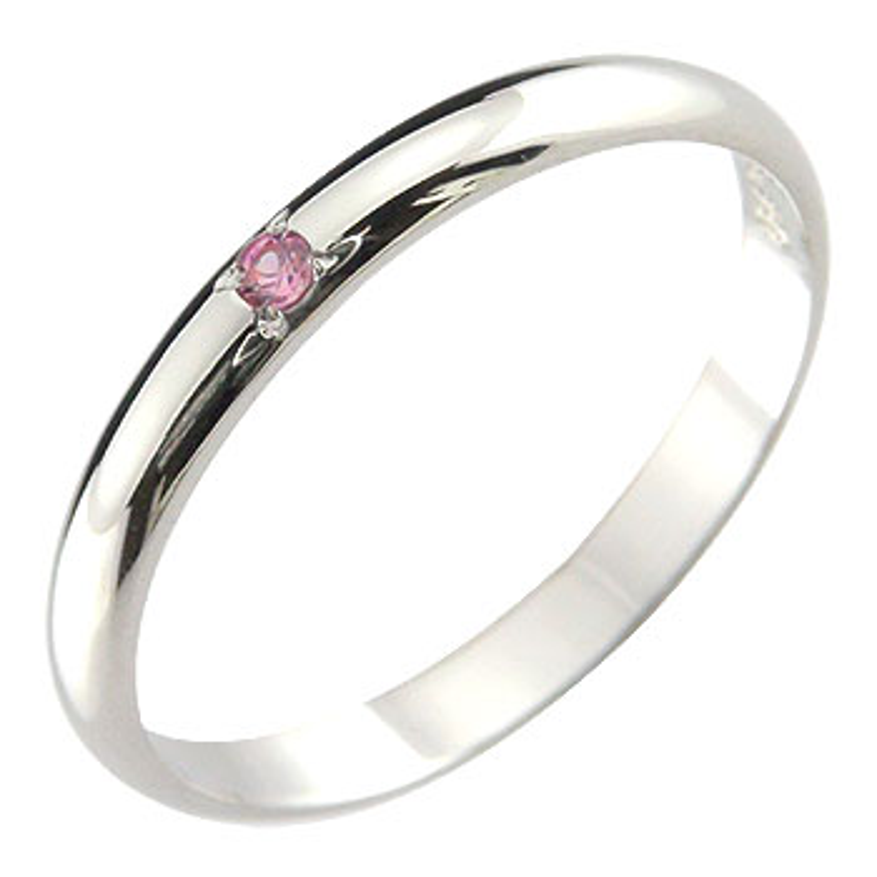 プラチナ 指輪 ピンクサファイア リング ピンキーリング 9月誕生石 ストレート 2.3 レディース 最短納期 送料無料