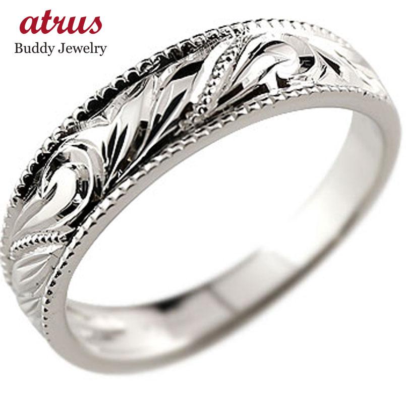 婚約指輪 エンゲージリング ハワイアンジュエリー 手彫りハワイアンリング ハードプラチナ950 リング pt950 ストレート 母の日