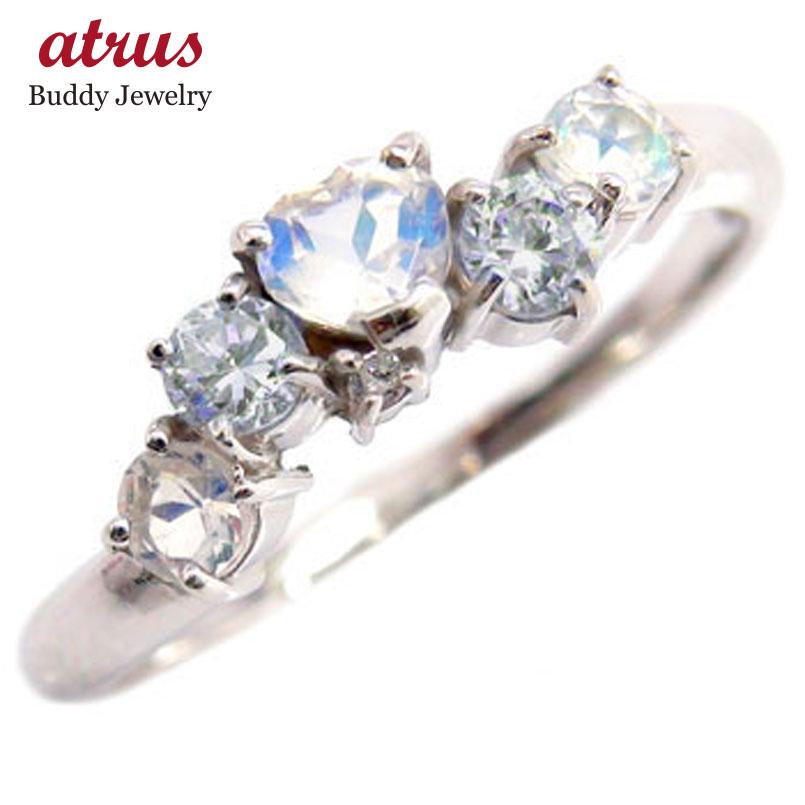 ピンキーリング 指輪 ブルームーンストーンリングハートリング アクアマリン ダイヤモンド ホワイトゴールドk18 3月誕生石 18金 ダイヤ 宝石 送料無料