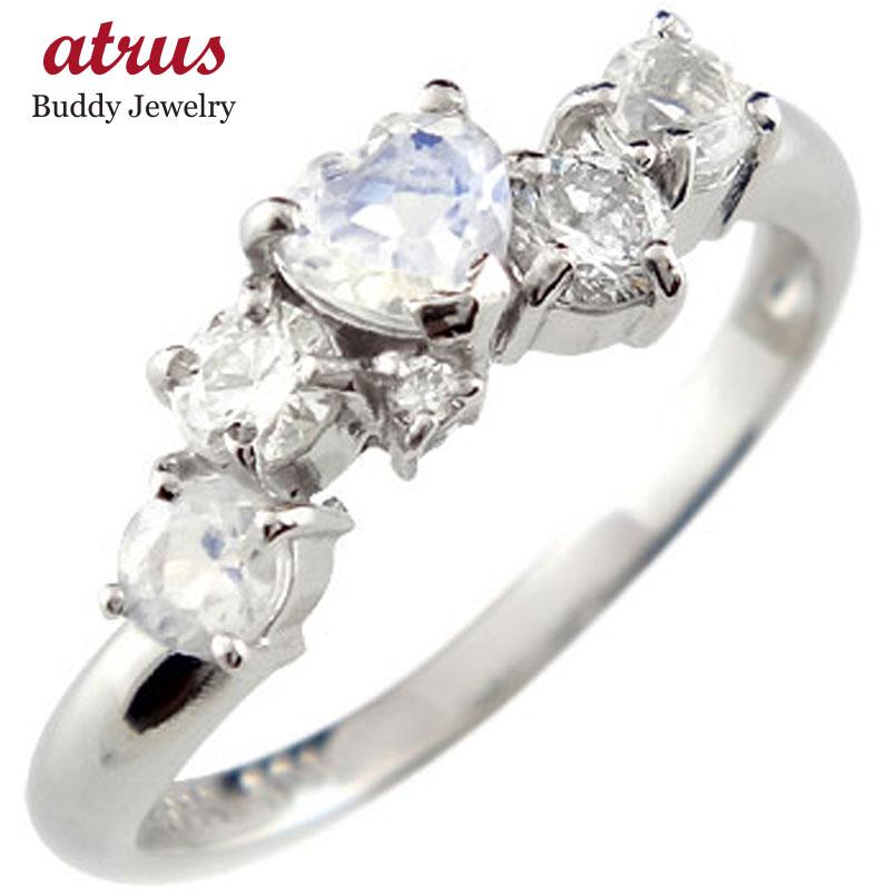 ピンキーリング ブルームーンストーンリングハートリングダイヤモンド ホワイトゴールドk18指輪 18金 ダイヤ 6月誕生石 宝石 送料無料