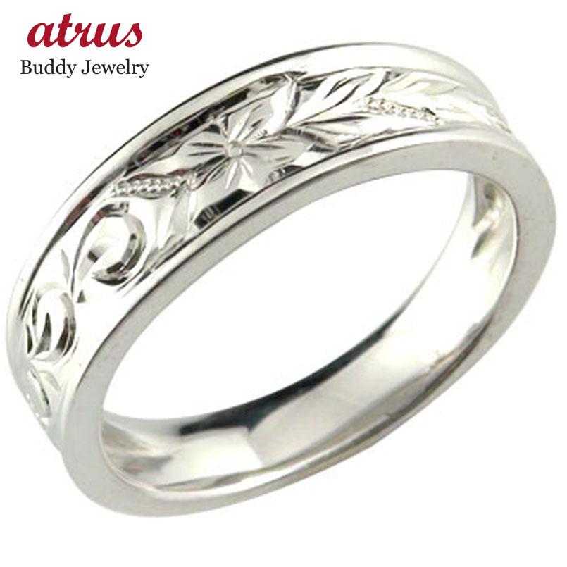 婚約指輪 エンゲージリング ハワイアンリング 婚約指輪 ハードプラチナリング 波 花 pt950 ストレート 母の日