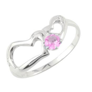 ダイヤモンド オープンハート ピンキーリング ピンクサファイア プラチナリング 指輪 ダイヤ 9月誕生石 宝石 送料無料