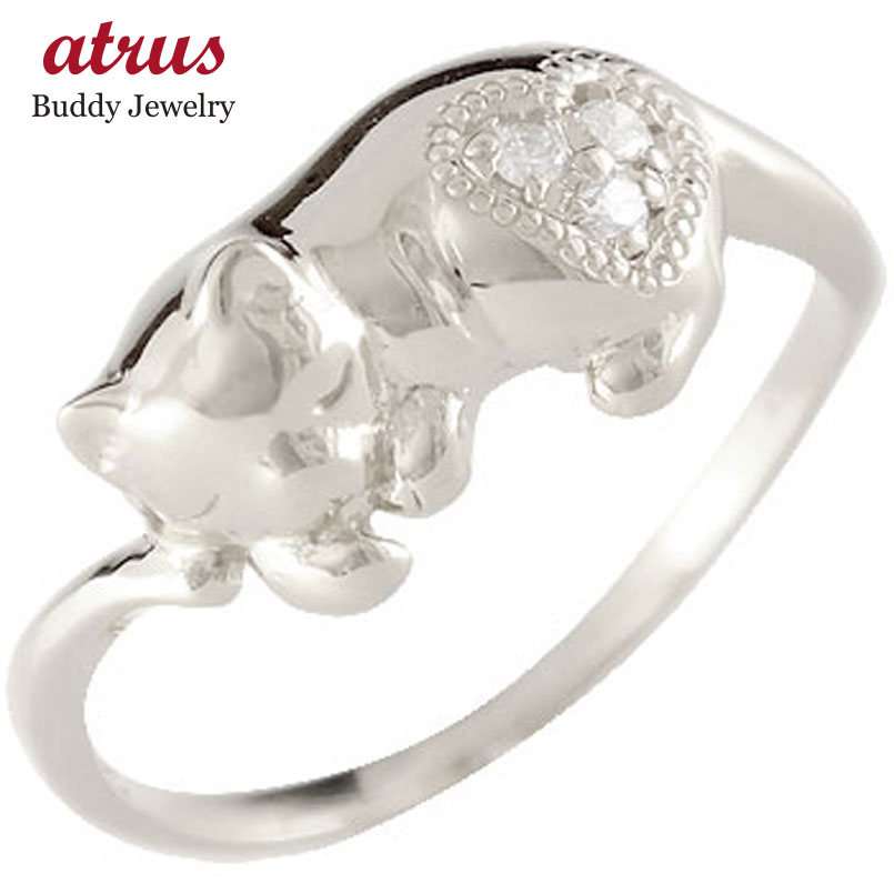ピンキーリング 猫 ダイヤモンド プラチナ リング 指輪 ダイヤ 4月誕生石 ストレート 送料無料 人気
