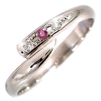 ピンキーリング ルビー ダイヤモンド プラチナ リング 指輪 7月誕生石 ダイヤ ストレート 2.3 宝石 送料無料