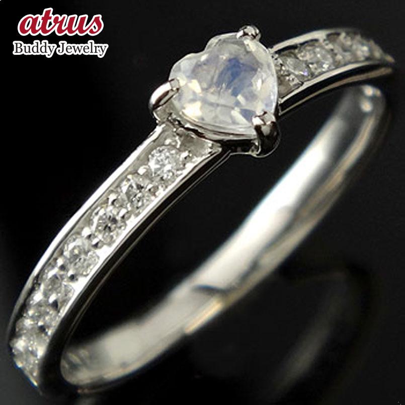 ピンキーリング ハート ブルームーンストーン ダイヤモンド プラチナ リング 指輪 6月誕生石 ダイヤ 宝石 送料無料
