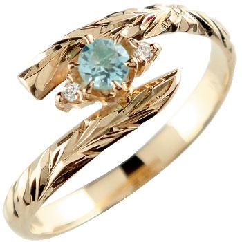 ピンキーリング ハワイアンジュエリー リング 指輪 ピンクゴールドk18 ハワイアンリング 地金リング 18金 k18pg ストレート 宝石