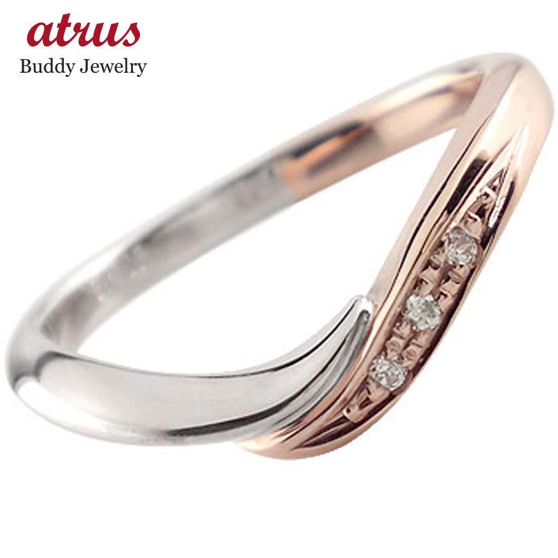 ピンキーリング ダイヤモンド リング プラチナ リング ピンクゴールドk18 18金 ダイヤモンドリング ダイヤ ストレート スリーストーン 送料無料