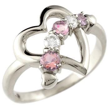 オープンハート リング 指輪 キュービックジルコニア 送料無料 ストレート ピンクトルマリン シルバー 宝石