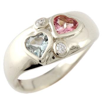 ピンキーリング ハート プラチナ リング アクアマリン ピンクトルマリン 指輪 3月誕生石 送料無料