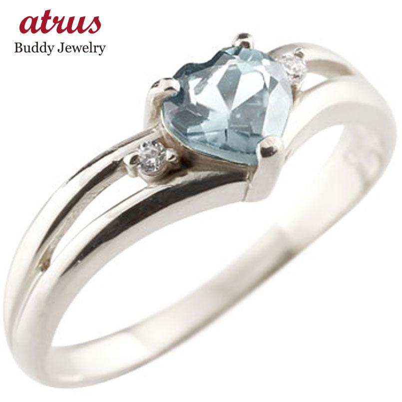 ピンキーリング ハート リング アクアマリン ダイヤモンド 指輪 ホワイトゴールドk18 18金 ダイヤ 3月誕生石 宝石 送料無料