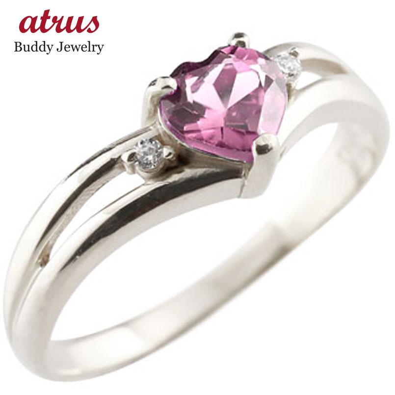 ピンキーリング ハート プラチナ リング ピンクトルマリン ダイヤモンド 指輪 ダイヤ 10月誕生石 宝石 送料無料