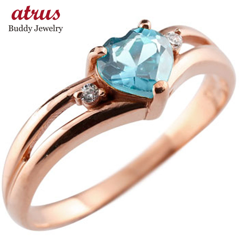 ピンキーリング ハート リング ブルートパーズ ダイヤモンド 指輪 ピンクゴールドk18 18金 ダイヤ 11月誕生石 宝石 送料無料