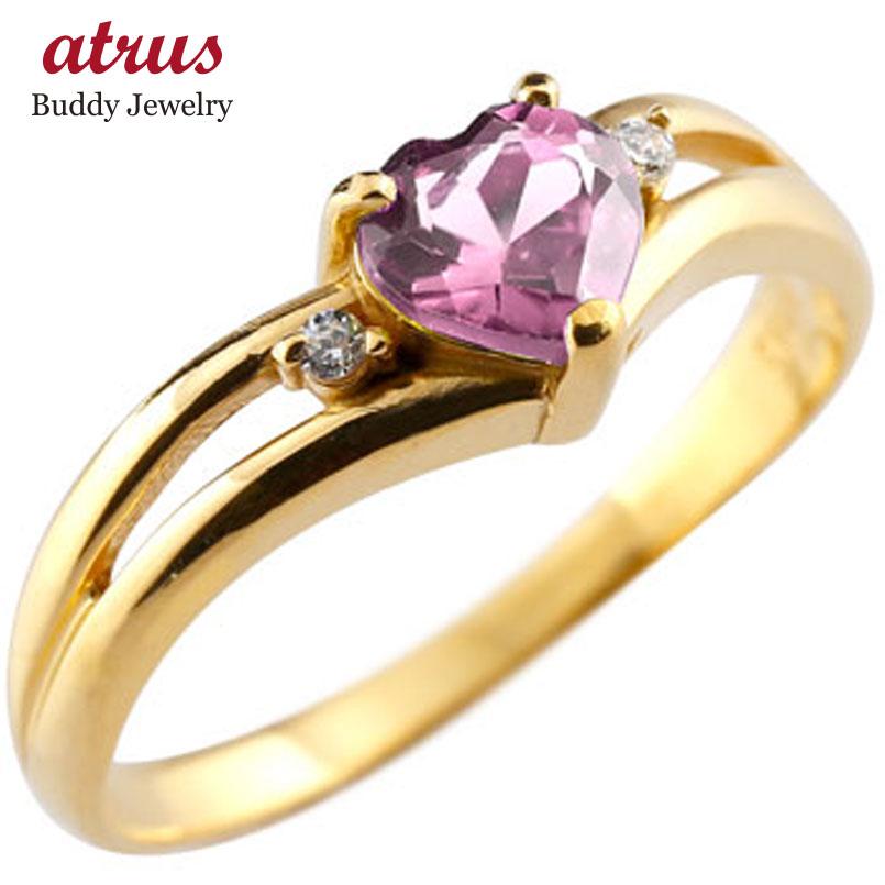 ピンキーリング ハート リング ピンクトルマリン ダイヤモンド 指輪 イエローゴールドk18 18金 ダイヤ 10月誕生石 宝石 送料無料