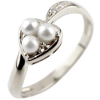 ピンキーリング ハート プラチナ リング パール ダイヤモンド 指輪 ダイヤ 6月誕生石 宝石 真珠 フォーマル 送料無料