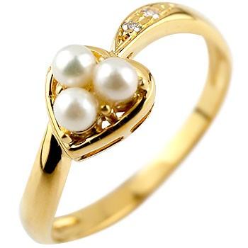 ピンキーリング ハート リング パール ダイヤモンド 指輪 イエローゴールドk18 18金 ダイヤ 6月誕生石 宝石 真珠 フォーマル 送料無料