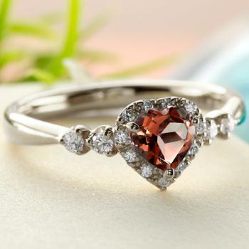 ハート プラチナ リング ガーネット ダイヤモンド 指輪 取り巻き ダイヤ ストレート 宝石