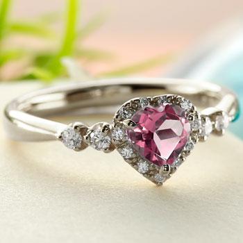 ハート リング ピンクトルマリン 指輪 シルバー 取り巻き ストレート 宝石